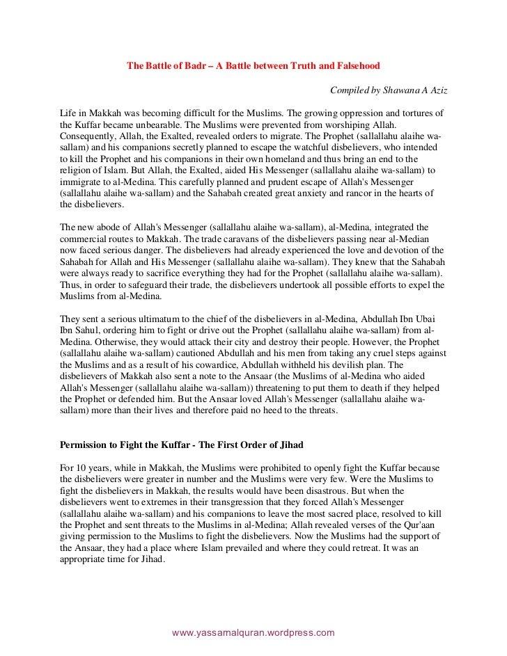 The Battle of Badr – A Battle between Truth and Falsehood                                                                 ...