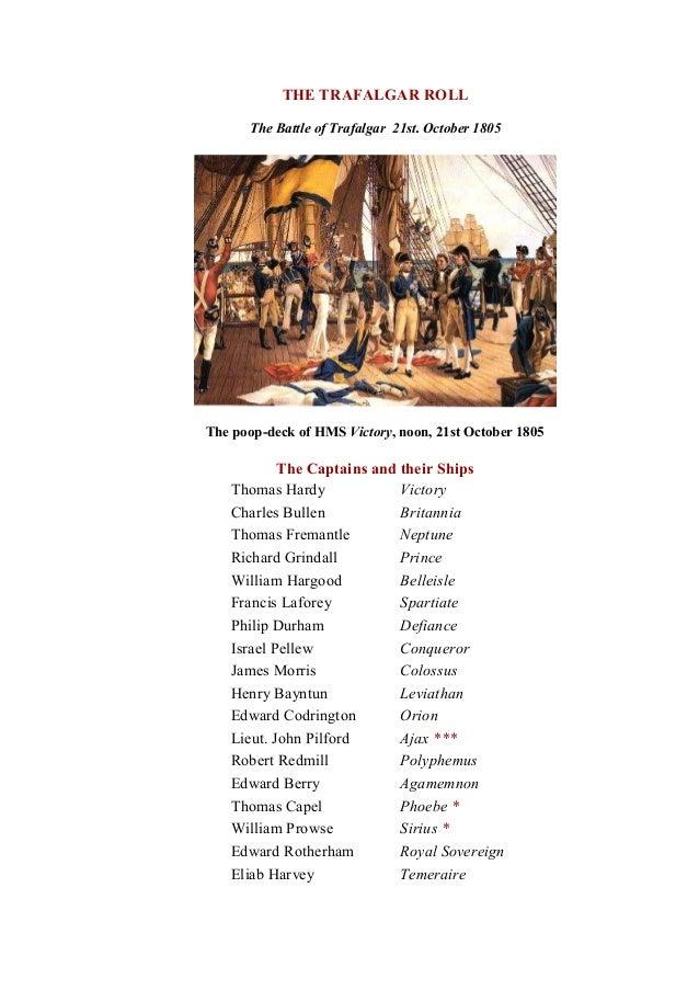 THETRAFALGARROLL TheBattleofTrafalgar 21st.October1805 ThepoopdeckofHMS Victory,noon,21stOctober1805 Th...