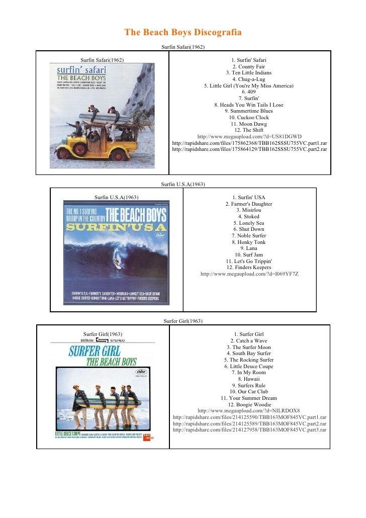 The Beach Boys Discografia                               Surfin Safari(1962)  Surfin Safari(1962)                         ...