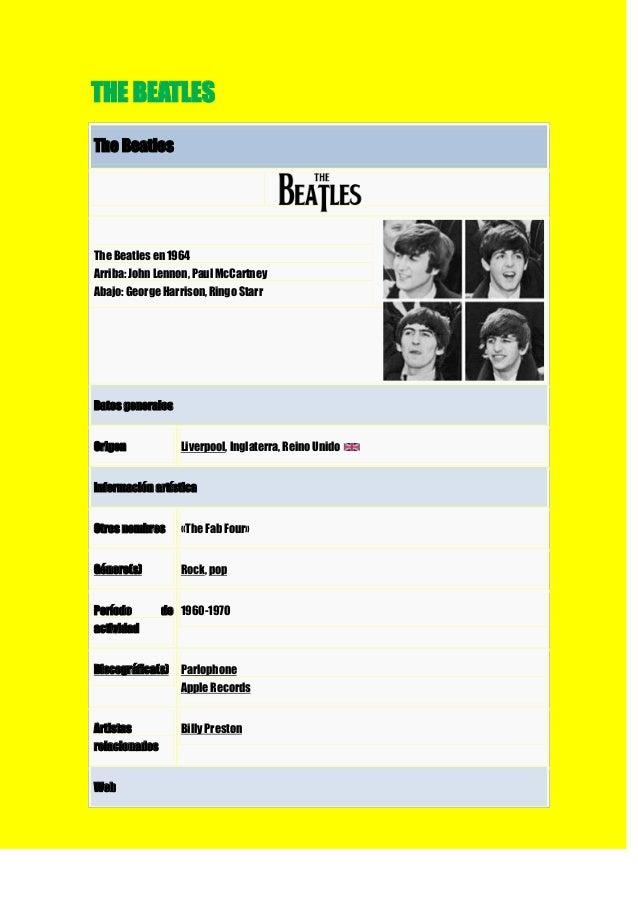 THE BEATLESThe BeatlesThe Beatles en 1964Arriba: John Lennon, Paul McCartneyAbajo: George Harrison, Ringo StarrDatos gener...