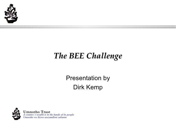 Presentation by Dirk Kemp The BEE Challenge