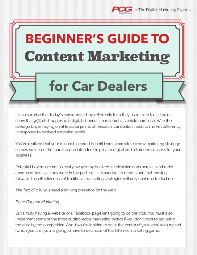 The Beginner's Guide to Content Marketing for Car Dealers