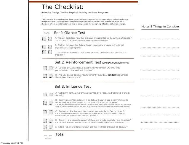 the behavior design checklist for employee wellness programs