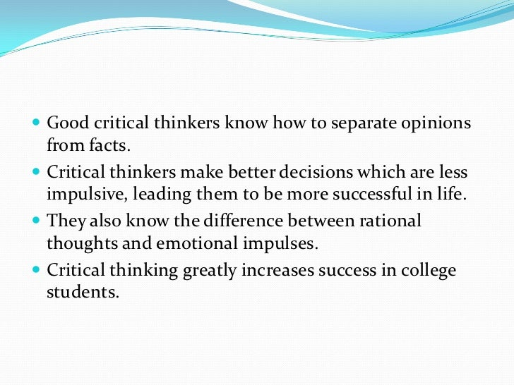 benefits of critical thinking in college