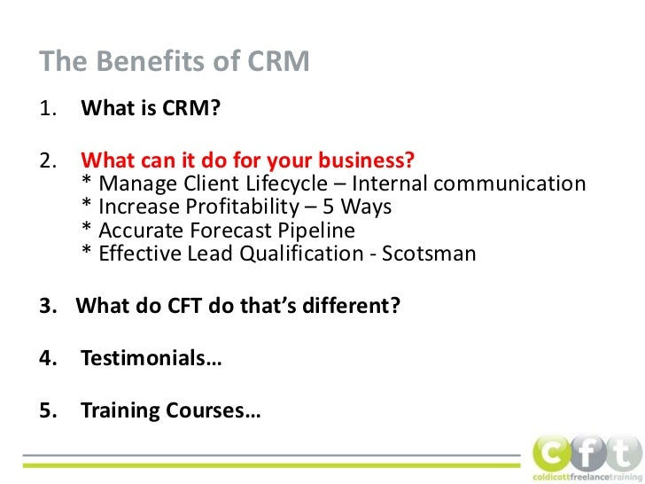 benefits of crm A customer relationship management (crm) application is one that small to large businesses use to keep track of customer contact information, addresses, orders and shipping.