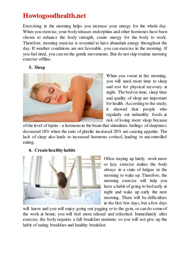 Benefits of excercise in the morning