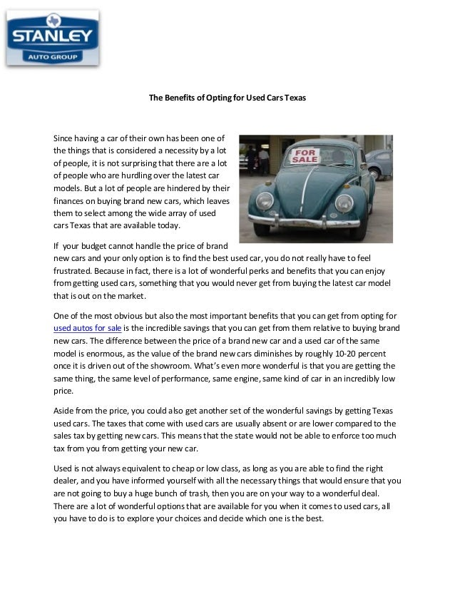 The benefits of opting for used cars texas web2.0-ar-rc
