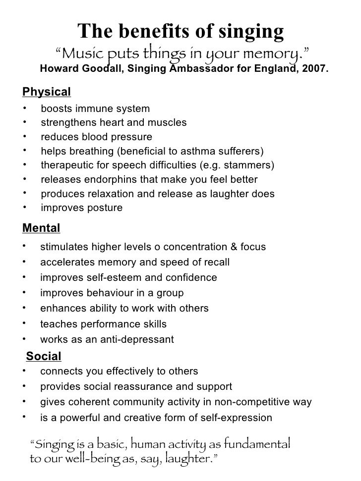 The benefits of singing <ul><li>boosts immune system </li></ul><ul><li>strengthens heart and muscles </li></ul><ul><li>red...