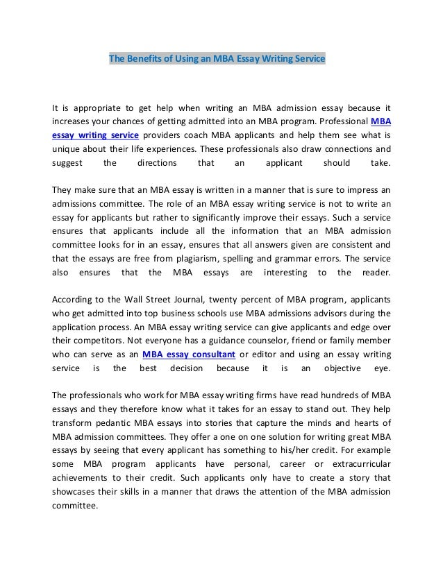 Mba Essay Writing Service