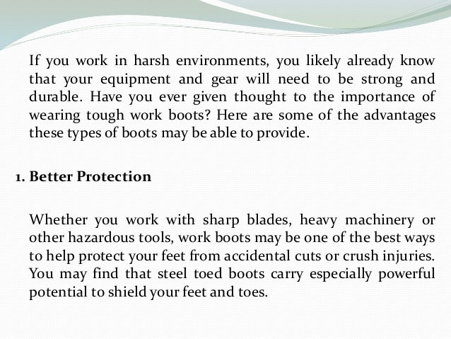 The Benefits of Wearing Work Boots Slide 2