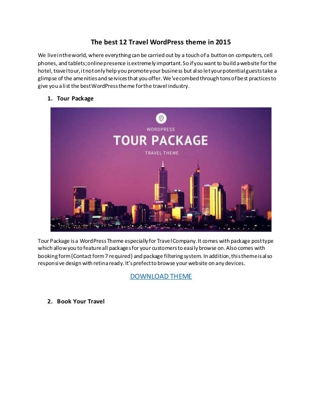 The best 12 travel wordpress theme in 2015