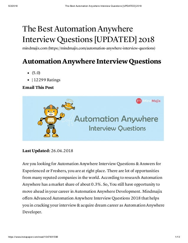 The best automation anywhere interview questions [updated] 2018