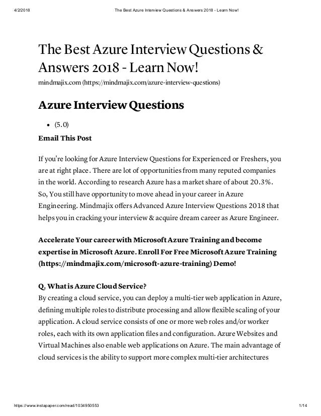 The best azure interview questions &