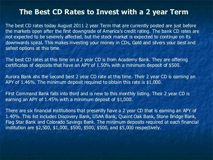 The Best Cd Rates To Invest With A 2 Year Term