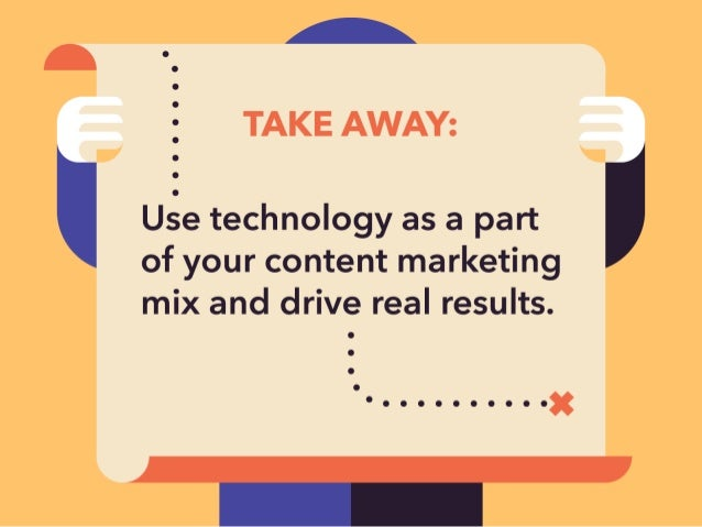 L Q  TAKE AWAY:   ' Use technology as a part of your content marketing  mix and drive real results.   ' - .  . .  . .  . ....