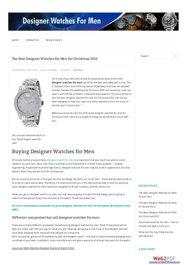 "The Luxurman diamond watch is a very ""bling"" designer watch for men! The Best Designer Watches for Men for Christmas 2015 ..."