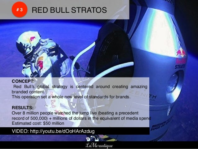 !    !    # 3!   !RED BULL STRATOS!!CONCEPT:!! Red Bull's global strategy is centered around creating amazing!branded cont...
