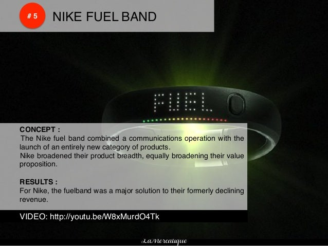 !    !        # 5!   !NIKE FUEL BAND!    !CONCEPT :!    ! The Nike fuel band combined a communications operation with the ...