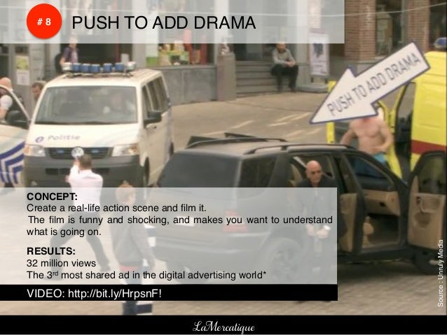 !    !        # 8!   !PUSH TO ADD DRAMA!    !CONCEPT:!    !Create a real-life action scene and film it. !    ! The film is f...