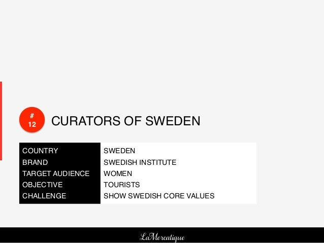 # 12!     CURATORS OF SWEDEN!COUNTRY!           SWEDEN!BRAND!             SWEDISH INSTITUTE!TARGET AUDIENCE!   WOMEN!OBJEC...