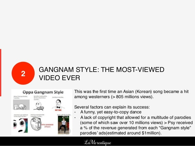 GANGNAM STYLE: THE MOST-VIEWED2!   VIDEO EVER!             This was the first time an Asian (Korean) song became a hit     ...