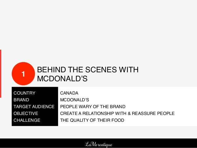 BEHIND THE SCENES WITH   1!           MCDONALD'S!COUNTRY!         CANADA!BRAND!           MCDONALD'S!TARGET AUDIENCE! PEO...