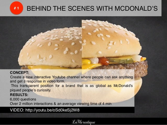 !    !    # 1!   !BEHIND THE SCENES WITH MCDONALD'S!!CONCEPT:!!Create a new interactive Youtube channel where people can a...