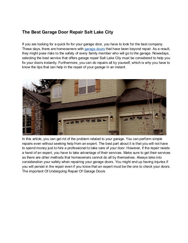 Bon The Best Garage Door Repair Salt Lake City If You Are Looking For A Quick  Fix ...