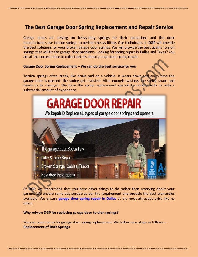 The Best Garage Door Spring Replacement And Repair Service