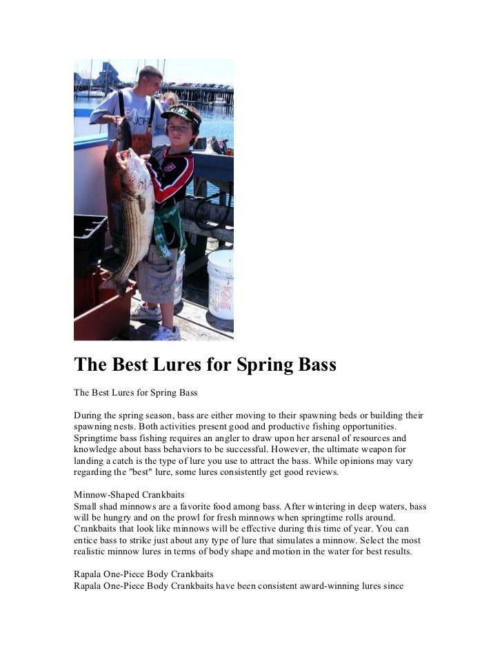 The Best Lures for Spring BassThe Best Lures for Spring BassDuring the spring season, bass are either moving to their spaw...