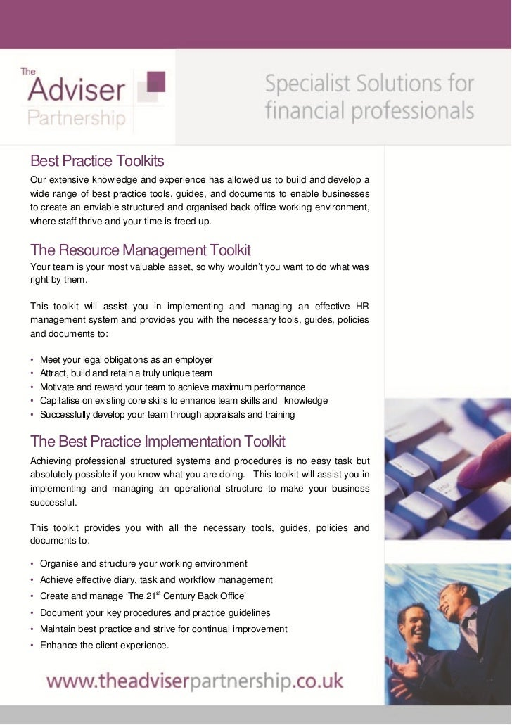 Best Practice ToolkitsOur extensive knowledge and experience has allowed us to build and develop awide range of best pract...