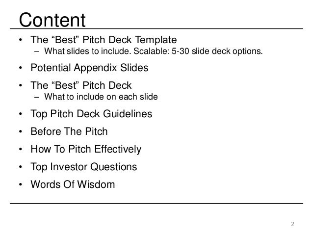 The Best Startup Investor Pitch Deck & How to Present to Angels & Venture Capitalists Slide 2