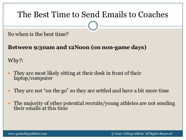 Sample Email to College Coaches