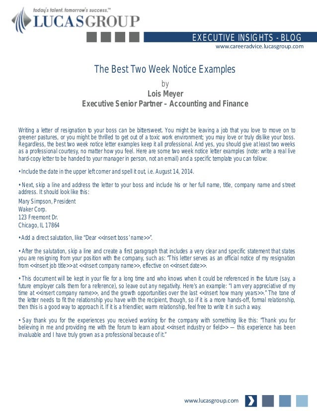 The Best Two Weeks Notice Examples