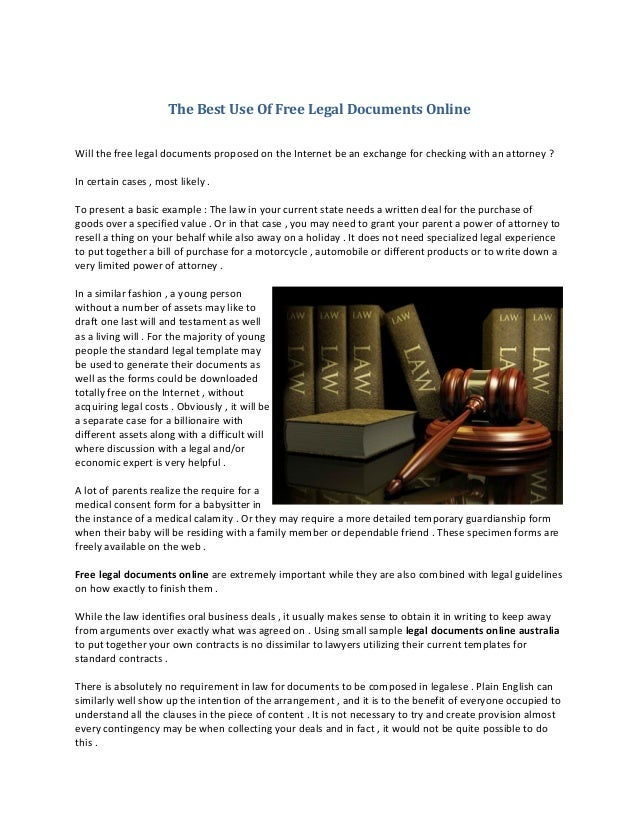The Best Use Of Free Legal Documents Online - Free legal documents online