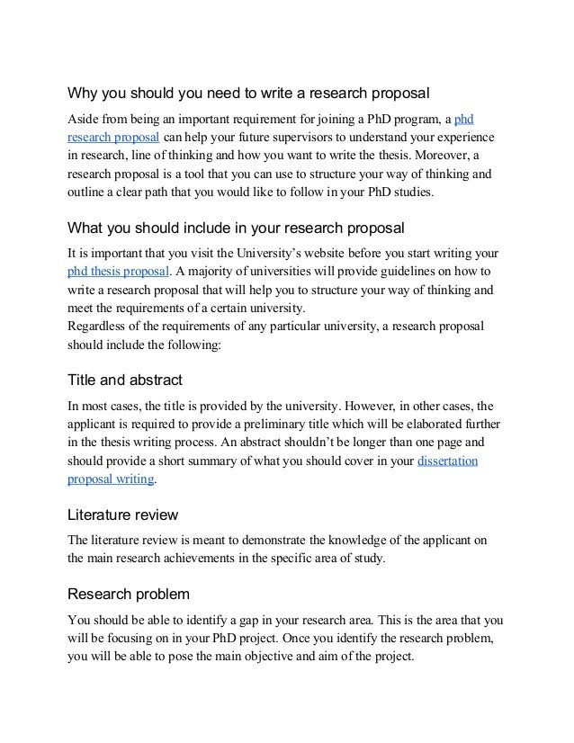 Phd research proposal how to