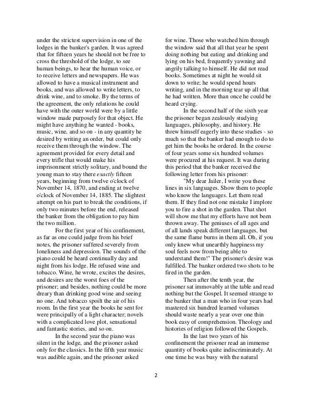 """""""The Bet"""" by Anton Chekhov Essay Sample"""