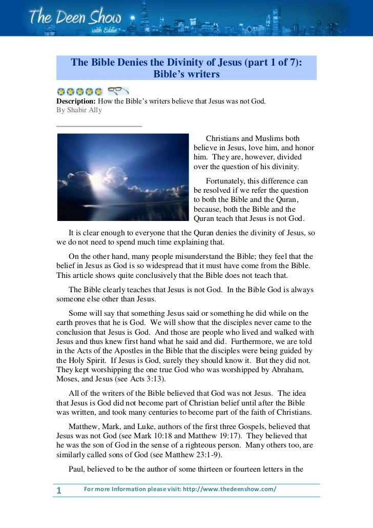 """The Bible Denies the Divinity of Jesus (part 1 of 7):                      Bible""""s writersDescription: How the Bible's wri..."""