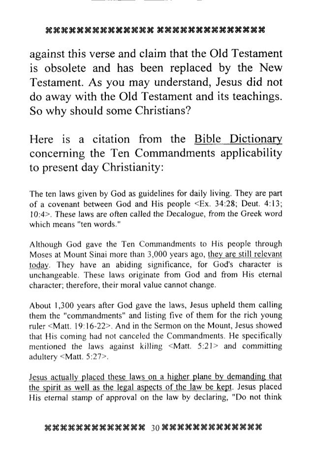 the eternal law as described in the commandments of the bible Are christians required to keep god's law and the commandments is the law a curse and unnecessary for salvation were all old testament laws abolished by being nailed to jesus' cross what should be a christian's attitude toward the laws, statutes and judgments of the eternal what is the correct.