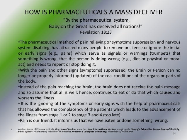 The Bible Speaks against Pharmaceuticals