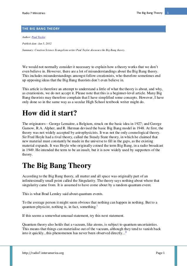 Radio 7 Ministries http://radio7.interamerica.org Page 1 1The Big Bang Theory THE BIG BANG THEORY Author: Paul Taylor Publ...