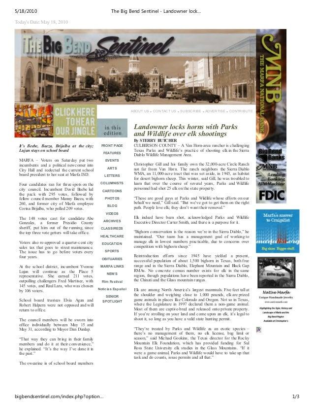5/18/2010                                               The Big Bend Sentinel - Landowner lock…Todays Date: May 18, 2010  ...