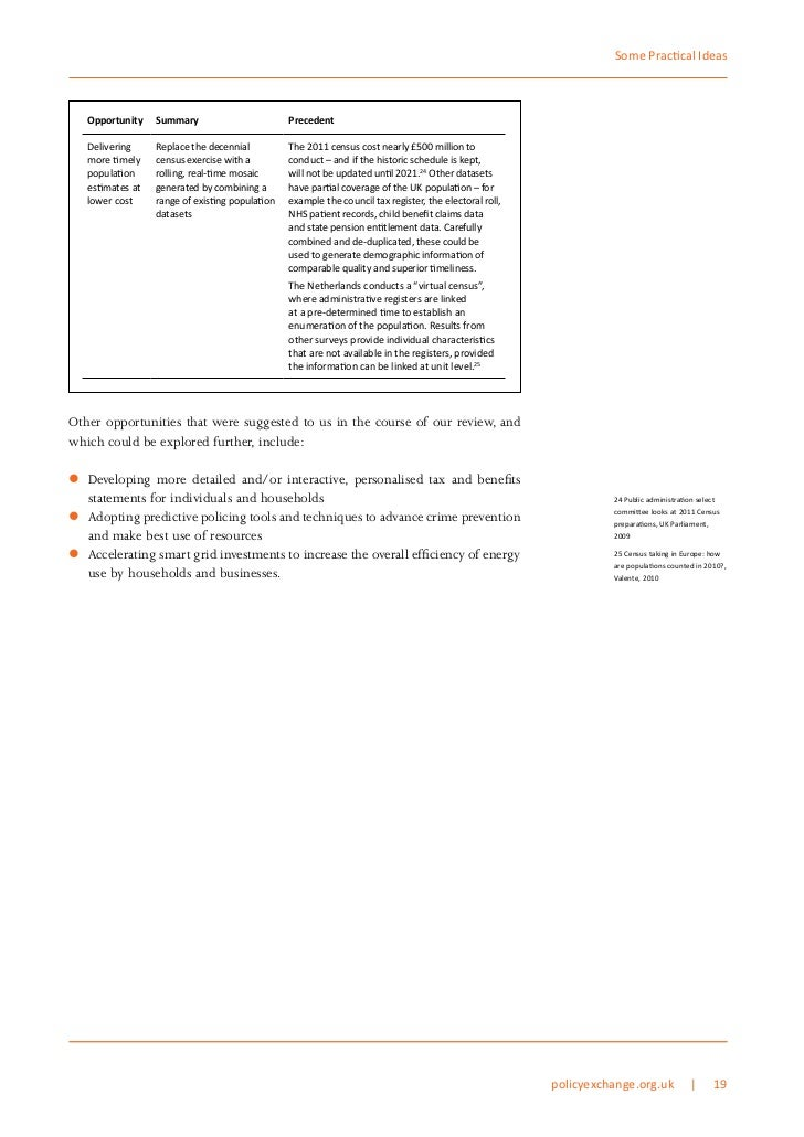 Some Practical Ideas   Opportunity    Summary                        Precedent   Delivering     Replace the decennial     ...