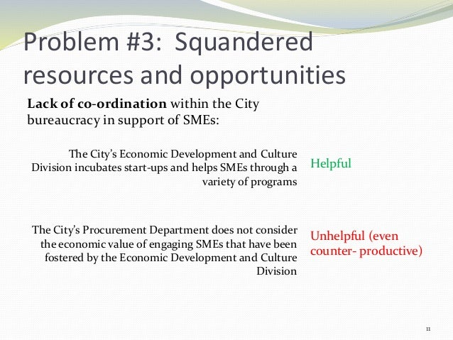 Problem #3: Squandered resources and opportunities Lack of co-ordination within the City bureaucracy in support of SMEs: T...