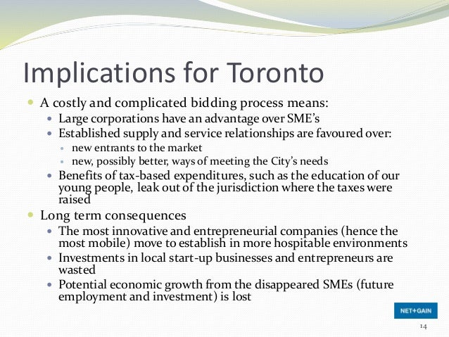 Implications for Toronto  A costly and complicated bidding process means:  Large corporations have an advantage over SME...