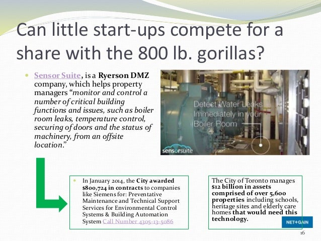 Can little start-ups compete for a share with the 800 lb. gorillas?  Sensor Suite, is a Ryerson DMZ company, which helps ...