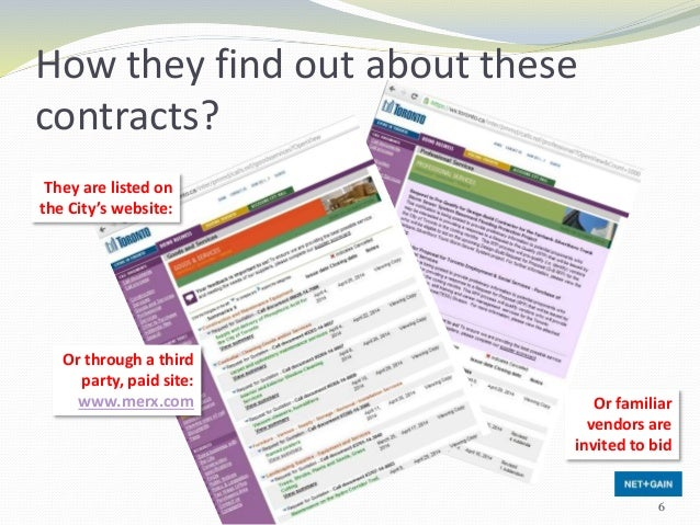 How they find out about these contracts? They are listed on the City's website: Or through a third party, paid site: www.m...