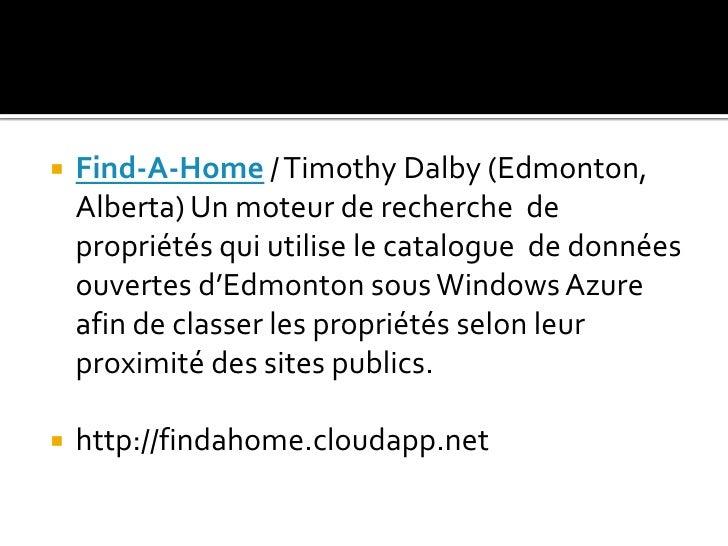 Find-A-Home / Timothy Dalby (Edmonton, Alberta) Un moteur de recherche  de propriétés qui utilise le catalogue  de données...
