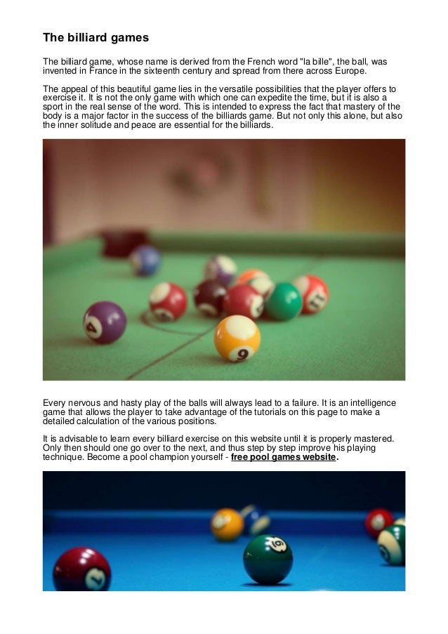 The billiard games the billiard games the billiard game whose name is derived from the french word solutioingenieria Gallery