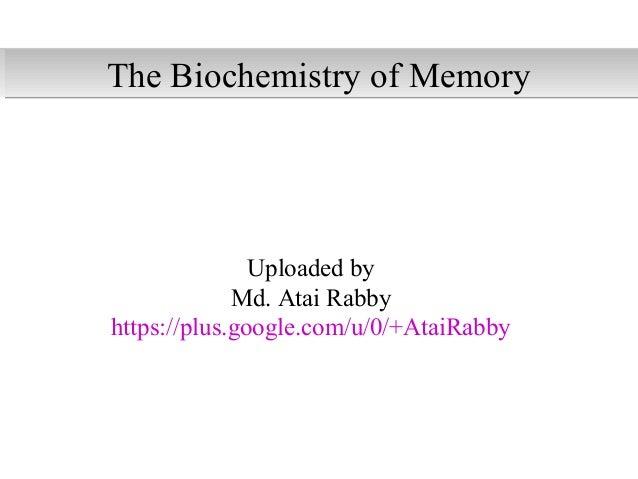 Uploaded by Md. Atai Rabby https://plus.google.com/u/0/+AtaiRabby The Biochemistry of MemoryThe Biochemistry of Memory